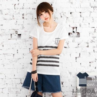 【春夏斷碼♥2件59折】美式主義~美式圖飾拼接條紋燙印純色上衣.2色