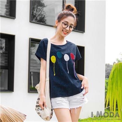 0415新品 輕甜輪廓~多色氣球刺繡造型前短後長連袖上衣.2色