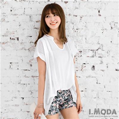 【夏日清爽白♥任選75折】氣質不敗~純色造型領口前短後長上衣.2色