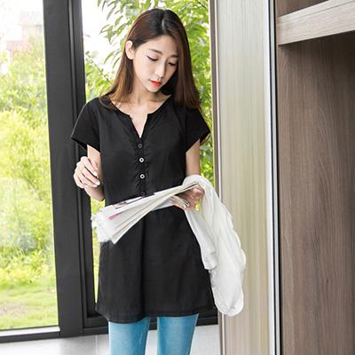 0603新品 簡純素雅~質感面料拼接開襟造型長版上衣.2色
