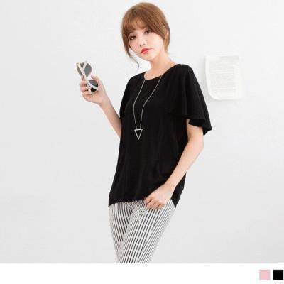 0427新品 秀麗格調~純色圓領開釦設計垂墜打摺短袖上衣.2色
