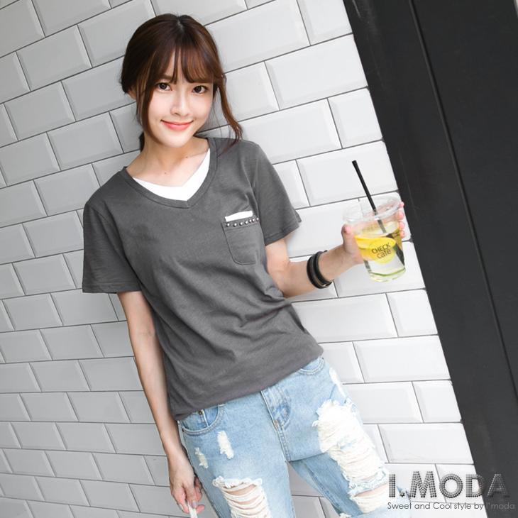 0922新品 休閒展現~珠飾綴口袋假兩件式長版T恤.2色
