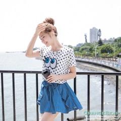 0716新品 甜蜜女孩~仿牛仔荷葉邊蝴蝶結褲裙.2色