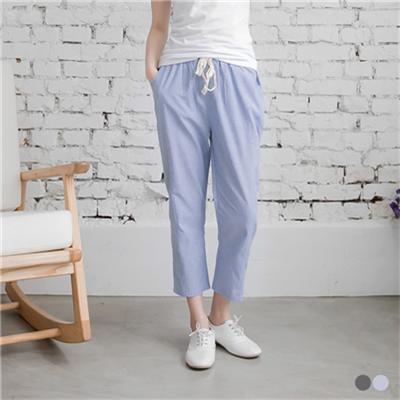 0714新品 清新風格~細直條紋抽繩造型七分褲.2色