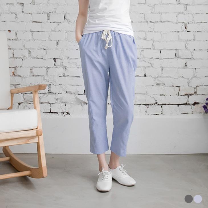 0427新品 清新風格~細直條紋抽繩造型七分褲.2色