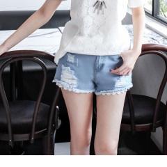 0713新品 纖細美型~破損感設計X蕾絲下襬牛仔短褲