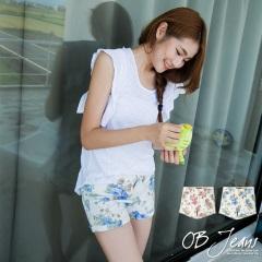 0722新品 甜美氣質~玫瑰花圖案彈性牛仔短褲.2色