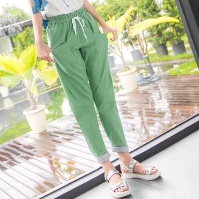 【LINE限定】 俐落亮眼~純色立體版型x條紋反折長褲.2色