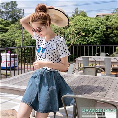 0302新品 清新可愛~雙釦圓襬剪裁牛仔短裙