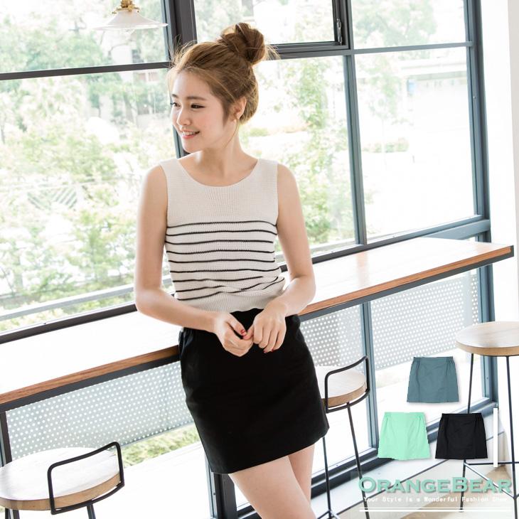 0504新品 美麗姿ob嚴選實體店態~素色雙側鬆緊修身短裙.3色