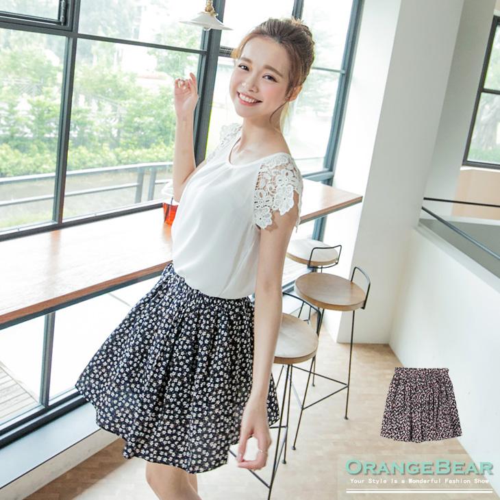 0708新品 甜美浪漫~滿版碎花鬆緊短裙.2色