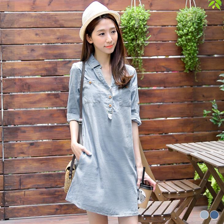 0301新品 休閒亮麗~開襟七分袖金黃車線單寧洋裝.2色