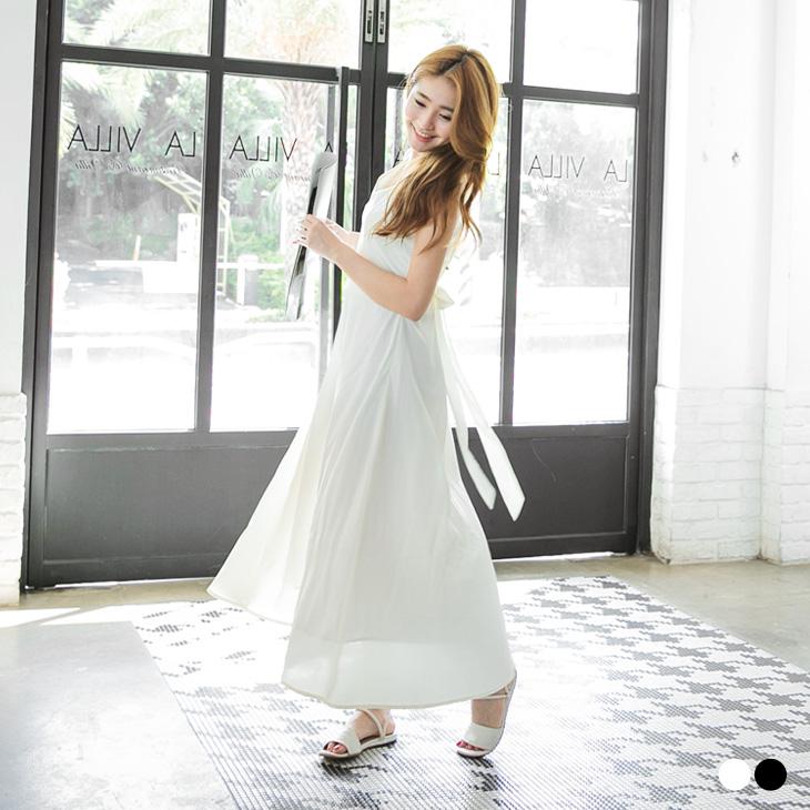 ob嚴選客服0407新品 溫婉Lady~V領素色後蝴蝶結綁帶連身洋裝.2色