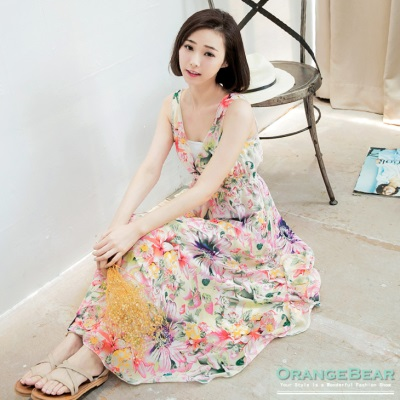 0821新品 女神花漾~V領滿版印花雪紡縮腰無袖長版洋裝.2色