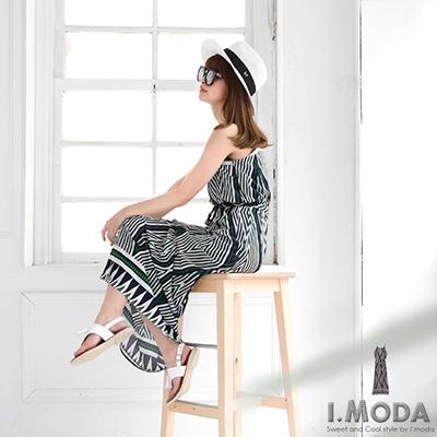0728新品 自然風尚~民俗風稜形圖騰木質繩頭長版洋裝.2色
