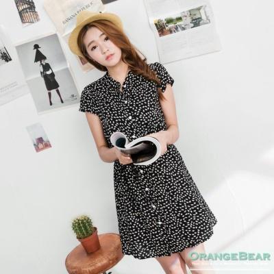 0420新品 韓系美感~滿版楓葉印花打褶修身開襟洋裝.2色