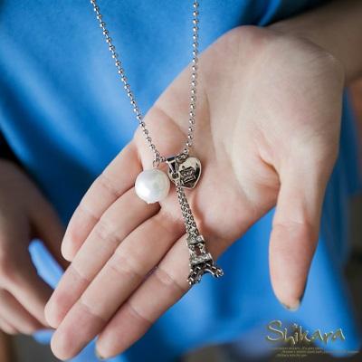 0720新品【特價款】 氣質優雅~巴黎鐵塔珍珠墬飾珠鍊