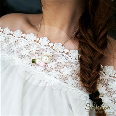 優雅品味~珍珠X立方體層次墬飾項鍊.2色