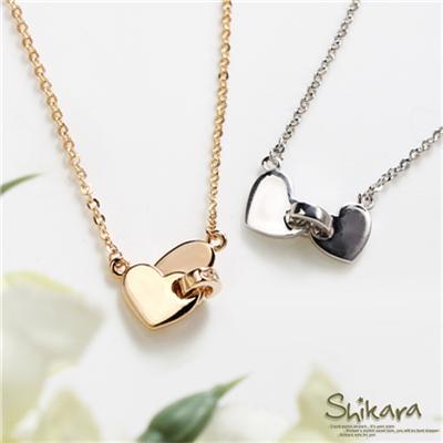 0731新品 【特價款】 心心相釦~愛心水鑽環釦墬飾項鍊.2色