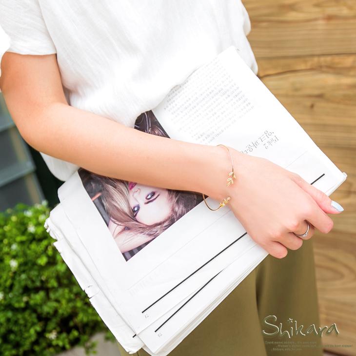 0426新品 氣質甜心~簡約純色葉子造型彈性手環.2色