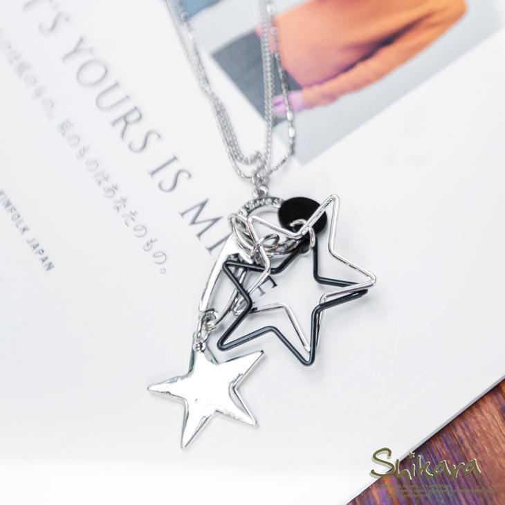 星星相印~鏤空立體星星迴紋針造型雙圈項鍊