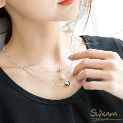 0828新品 【特價款】 簡約單顆珍珠設計多圈式項鍊