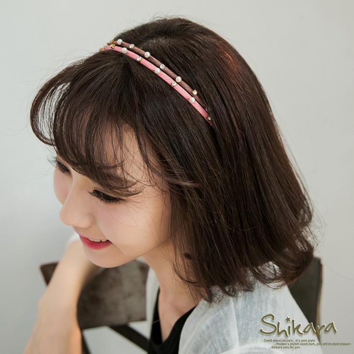 【最低出清!任選68】 細膩優雅~珍珠水鑽細髮箍.4色