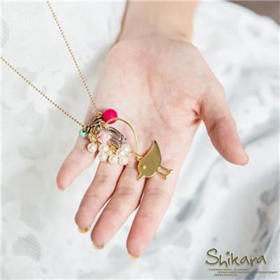0827新品 【特價款】 垂墬金屬小鳥珍珠層次項鍊
