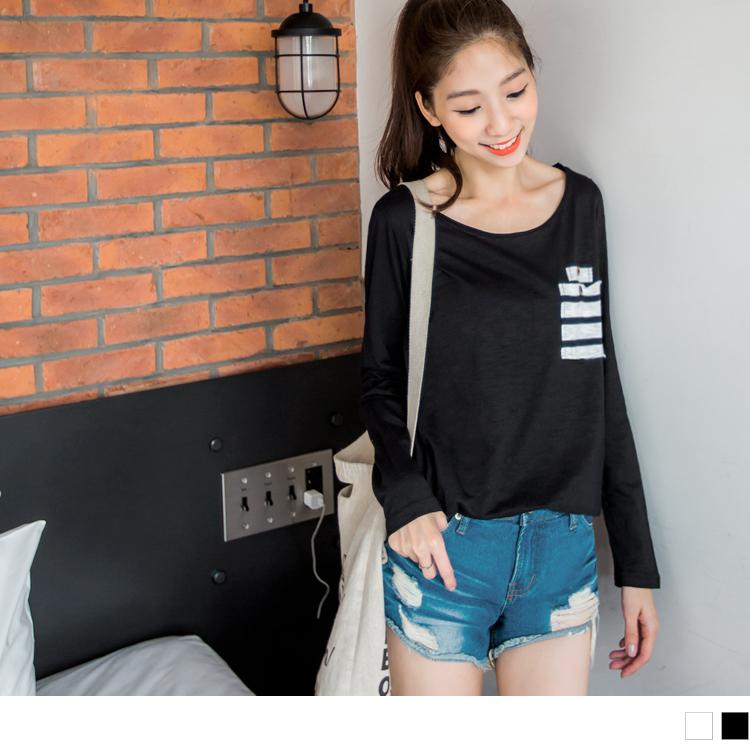 0119新品 圓領純色X條紋口袋造型長袖上衣.2色