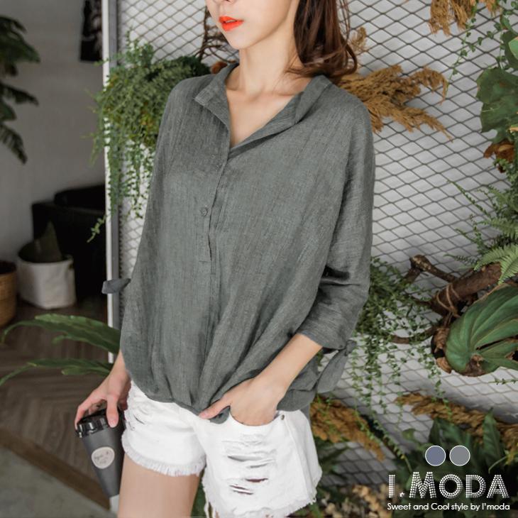 1022新品 純色開襟綁帶七分袖前短後長上衣.2色