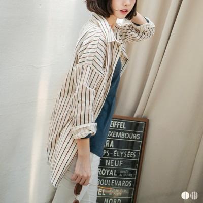 復刻絕色~雙色直條質感織紋落肩長版襯衫.2色