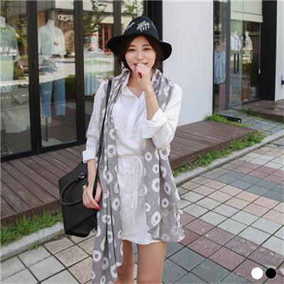 0309新品 附綁帶素色質感面料開襟雙口袋洋裝.2色