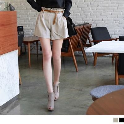 0219新品 附皮帶條紋打褶知性顯瘦短褲.2色