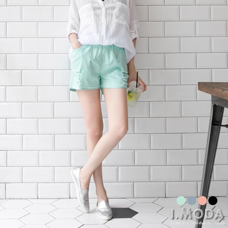 0810新品 好感風尚~簡約破損設計皮革抽繩短褲.4色