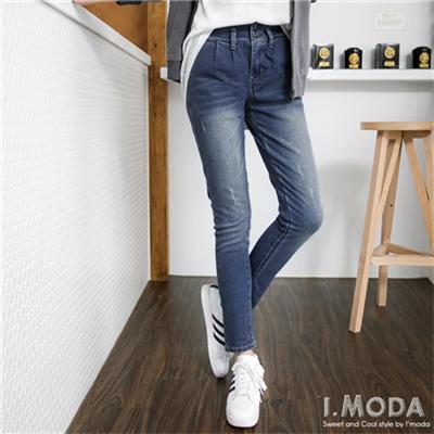 0604新品 嚴選造型腰頭彈性牛仔窄管褲