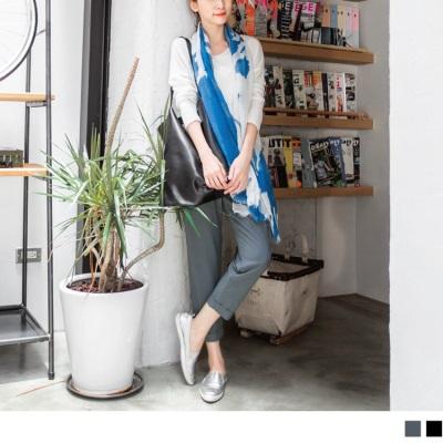 0304新品 純色立體剪裁抽繩設計長褲.2色