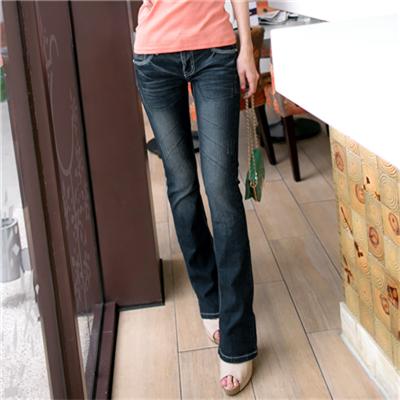 0516新品 復古美型~嚴選韓版藍黑仿舊小喇叭牛仔褲
