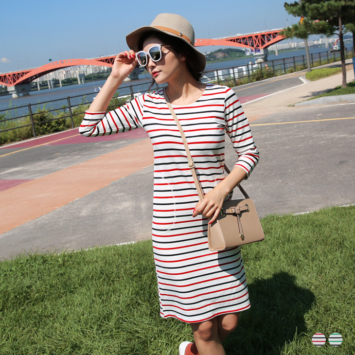0226新品 配色條紋雙口袋七分袖洋裝.2色