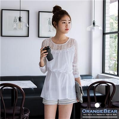 【夏日特賣♥2件5折】無暇細膩~附綁帶質感條紋拼蕾絲長袖上衣.2色