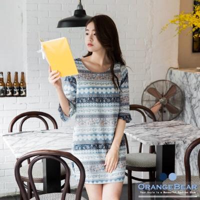 1014新品 民族圖騰印花五分喇叭袖洋裝.2色