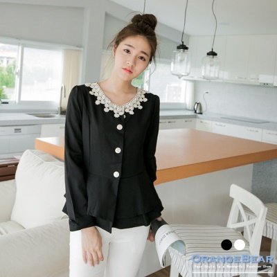 0226新品 溫柔格調~公主線傘襬布蕾絲珍珠點綴外套.2色