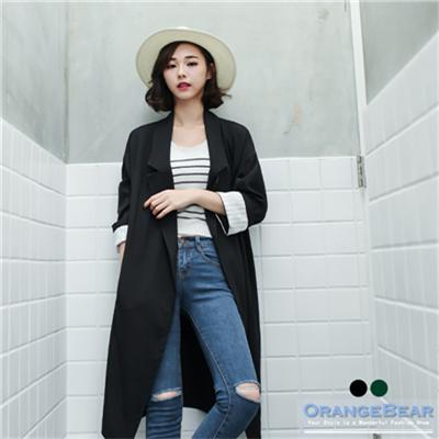 0909新品 質感素色落肩條紋反折袖長版西裝外套.2色
