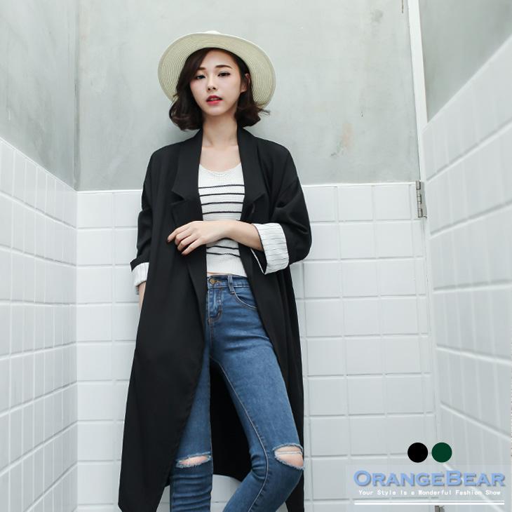 090ob嚴選大尺碼9新品 質感素色落肩條紋反折袖長版西裝外套.2色