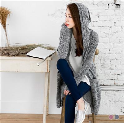 0114新品 混色織紋開襟連帽長版罩衫/外套.2色