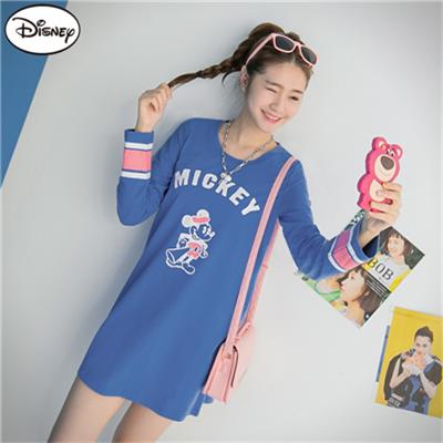 0824新品 迪士尼純棉系列~大聲公米奇撞色袖口長版T恤‧女3色