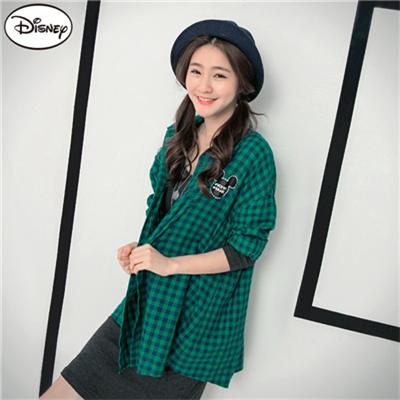 0824新品 迪士尼棉質襯衫系列~經典米奇格紋長版襯衫‧女2色