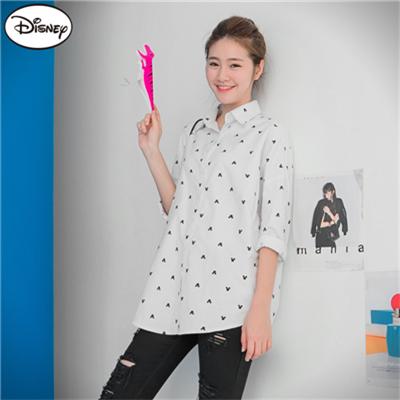 0824新品 迪士尼棉質襯衫系列~米奇滿版燙印長版襯衫‧女2色