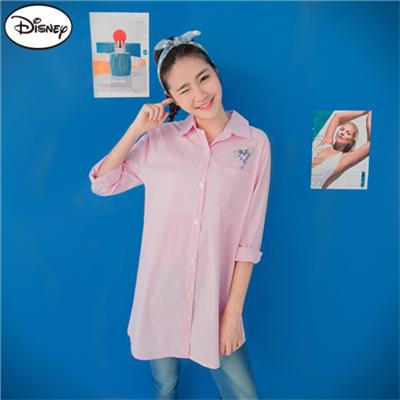 0824新品 迪士尼棉質襯衫系列~跳躍米奇直紋口袋長版襯衫‧女3色