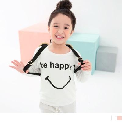 1001新品 Be happy微笑字母上衣•童2色