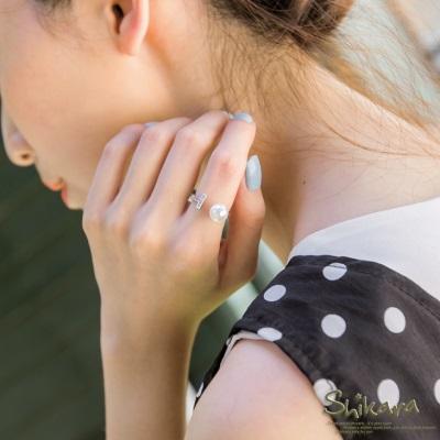 0426新品 簡雅單顆珍珠T字鑲鑽戒指